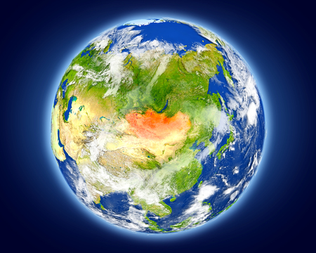 Mongolia highlighted in red on planet Earth. 3D illustration with detailed planet surface.