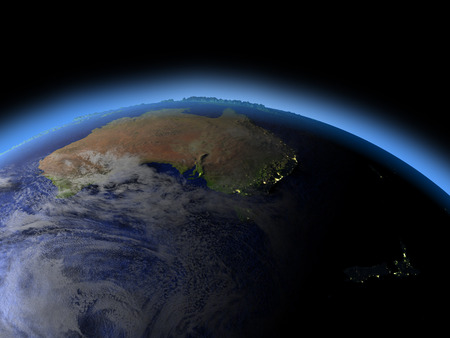 orbiting: Australia and New Zealand as seen from earths orbit in space in late evening. 3D illustration with detailed planet surface.