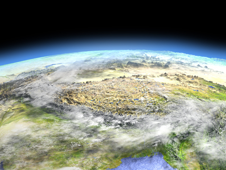 Himalayas as seen from earths orbit in space on bright day. 3D illustration with detailed planet surface. Stock Photo