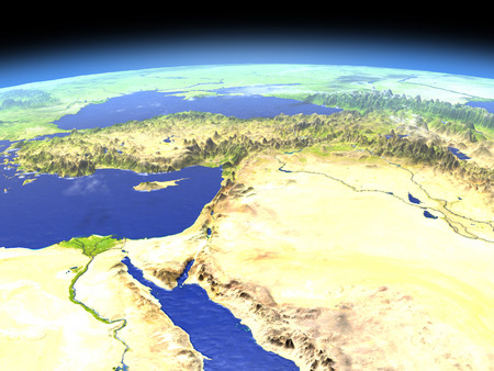 Middle East as seen from earths orbit in space on bright day. 3D illustration with detailed planet surface.