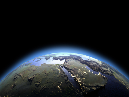 orbiting: Dawn above Middle East on planet Earth. 3D illustration with detailed planet surface. Stock Photo