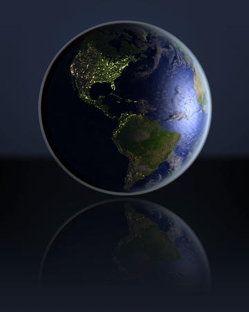 visible: Americas on dark globe with visible city lights on dark reflective surface. 3D illustration. Stock Photo