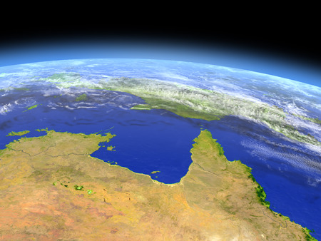 orbiting: Northern Australia as seen from earths orbit in space on bright day. 3D illustration with detailed planet surface.