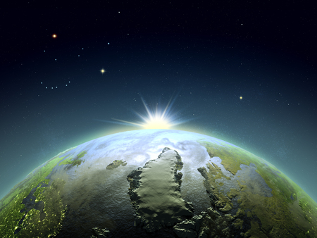Sunrise above Greenland from space. Concept of new start, hope, new light. 3D illustration with detailed planet surface.