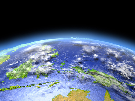 orbiting: Papua as seen from earths orbit in space on bright day. 3D illustration with detailed planet surface.