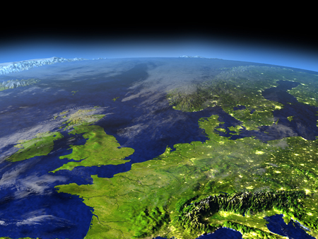 visible: Western Europe from space in the evening sunlight with visible city lights. 3D illustration with detailed planet surface.