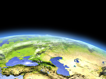 Western Asia as seen from earths orbit in space on bright day. 3D illustration with detailed planet surface. Reklamní fotografie