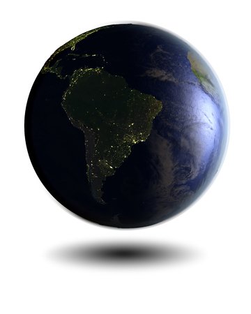 city lights: Model of Earth at night facing South America hovering above white surface. 3D illustration isolated on white background.