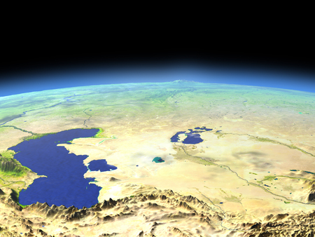 Central Asia as seen from earths orbit in space on bright day. 3D illustration with detailed planet surface. Stock Photo