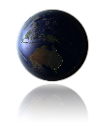 Night globe with city lights facing Australia hovering above white reflective surface. 3D illustration with detailed planet surface.