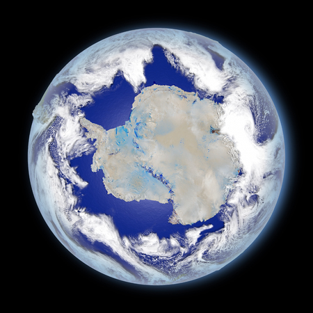 朝の日差しに照らされた南極に直面して惑星の地球。詳細な惑星の表面に 3 D のイラスト。