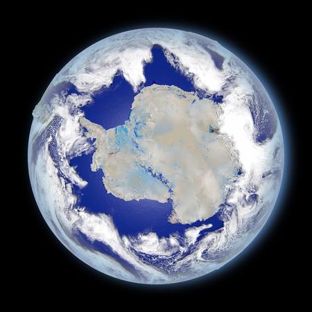 Planeta Tierra frente a la Antártida iluminada por la luz del sol de la mañana. Ilustración 3D con superficie de planeta detallada. Foto de archivo - 80710085