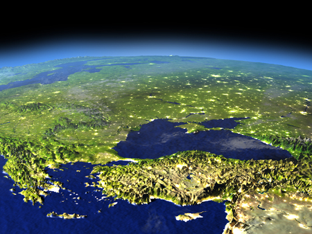 Turkey and Black sea region from space in the evening sunlight with visible city lights. 3D illustration with detailed planet surface.