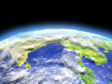 bengal: Southeast Asia as seen from earths orbit in space on bright day. 3D illustration with detailed planet surface. Stock Photo