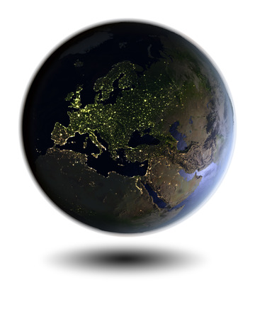 city lights: Model of Earth at night facing Europe hovering above white surface. 3D illustration isolated on white background.