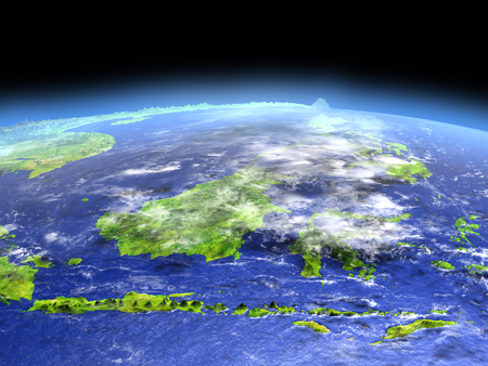 earth day: Malaysia as seen from earths orbit in space on bright day. 3D illustration with detailed planet surface.