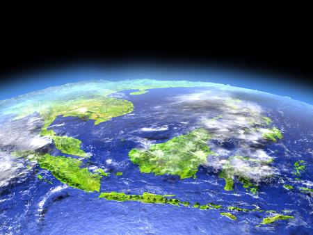 Indonesië gezien vanuit de baan van de aarde in de ruimte op heldere dag. 3D illustratie met gedetailleerd planeetoppervlak.