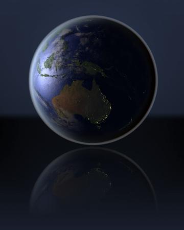 city lights: Australia on dark globe with visible city lights on dark reflective surface. 3D illustration. Stock Photo
