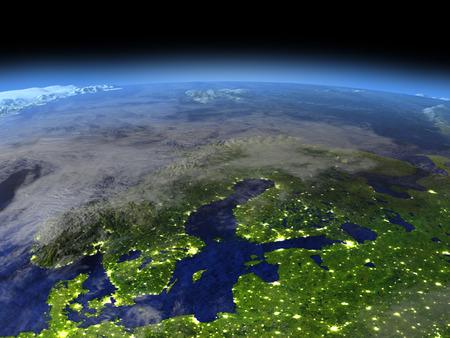 目に見える街の明かりで夜日光に宇宙からスカンジナビア半島。詳細な惑星の表面に 3 D のイラスト。