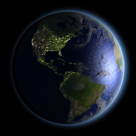 Planet Earth facing Americas at night. 3D illustration with detailed planet surface and visible city lights. Stock Photo