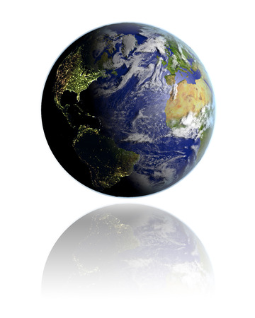 Realistic globe hovering above white reflective surface facing Northern Hemisphere. 3D illustration with detailed planet surface.