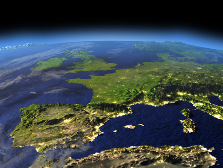 Iberia from space in the evening sunlight with visible city lights. 3D illustration with detailed planet surface.