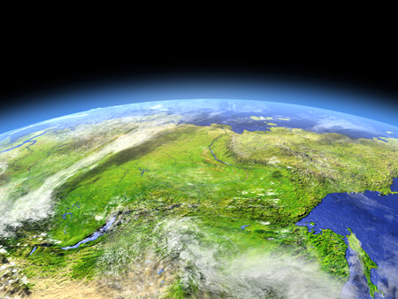 Siberia as seen from earths orbit in space on bright day. 3D illustration with detailed planet surface. Stock Photo