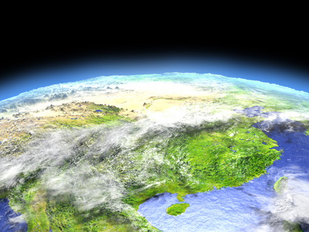 orbiting: Eastern China as seen from earths orbit in space on bright day. 3D illustration with detailed planet surface.