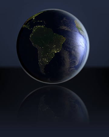 city lights: South America on dark globe with visible city lights on dark reflective surface. 3D illustration.