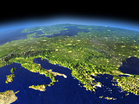 Adriatic sea region from space in the evening sunlight with visible city lights. 3D illustration with detailed planet surface.