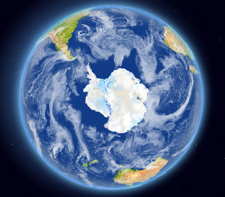 Southern Ocean on planet Earth as seen from space. 3D illustration with detailed planet surface.