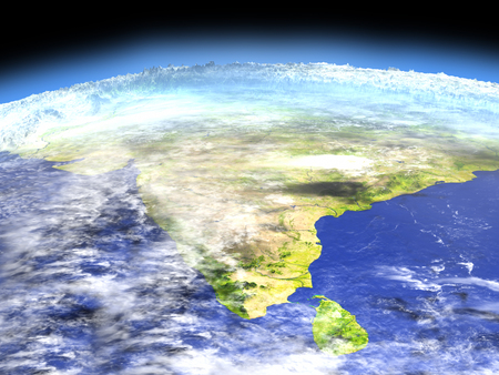Indian subcontinent as seen from earths orbit in space on bright day. 3D illustration with detailed planet surface.