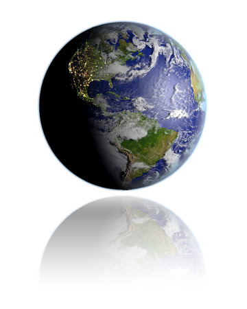Realistic globe hovering above white reflective surface facing Americas. 3D illustration with detailed planet surface.