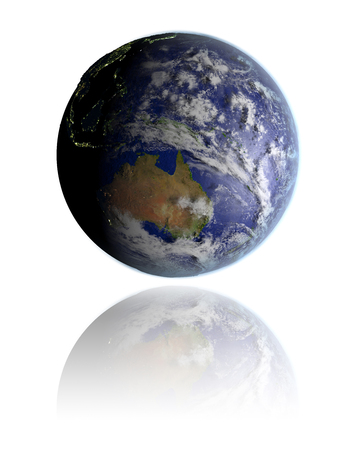 australasia: Realistic globe hovering above white reflective surface facing Australia. 3D illustration with detailed planet surface.