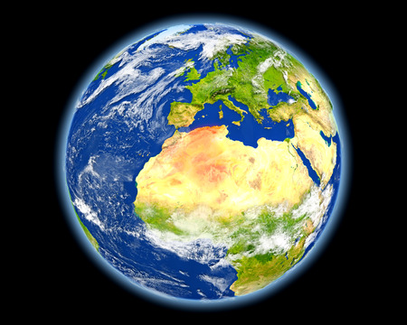 Algeria on planet Earth. 3D illustration with detailed planet surface. Elements of this image furnished by . Stock Photo