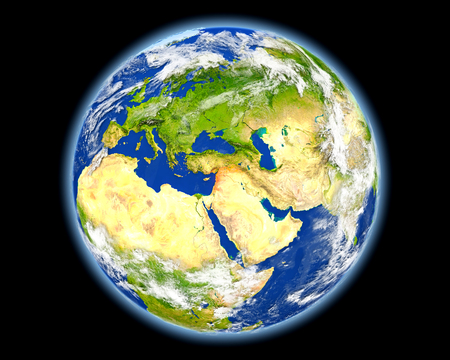 Syria on planet Earth. 3D illustration with detailed planet surface. Stock Photo