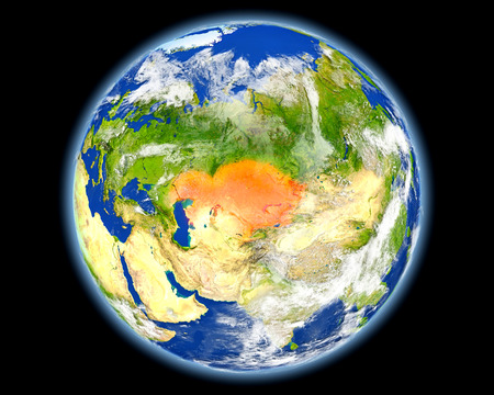 地球上のカザフスタン。詳細な惑星の表面に 3 D のイラスト。このイメージによって供給の要素です。 写真素材