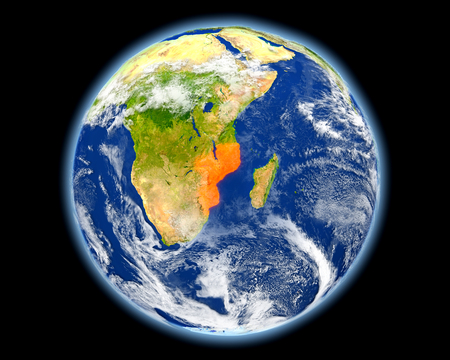 Mozambique on planet Earth. 3D illustration with detailed planet surface. Stock Photo