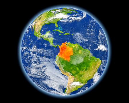 Colombia on planet Earth. 3D illustration with detailed planet surface. Stock Photo