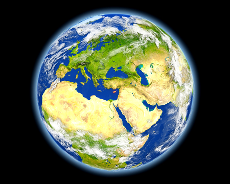 Cyprus on planet Earth. 3D illustration with detailed planet surface. Stock Photo