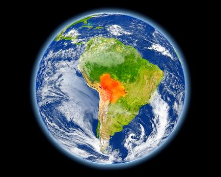 map bolivia: Bolivia en el planeta Tierra. Ilustración 3D con la superficie detallada del planeta. Elementos de esta imagen proporcionados por la NASA. Foto de archivo
