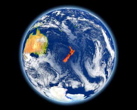 Nieuw-Zeeland op de planeet aarde. 3D illustratie met gedetailleerd planeetoppervlak. Elementen van deze afbeelding geleverd door.