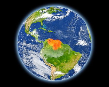 Venezuela on planet Earth. 3D illustration with detailed planet surface. Elements of this image furnished by NASA.