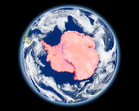 Antarctica on planet Earth. 3D illustration with detailed planet surface. Elements of this image furnished by NASA.