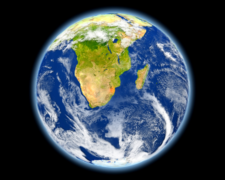 Swaziland on planet Earth. 3D illustration with detailed planet surface. Elements of this image furnished by NASA.