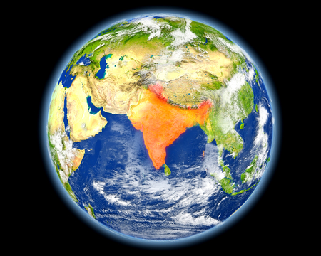 India on planet Earth. 3D illustration with detailed planet surface. Stock Photo