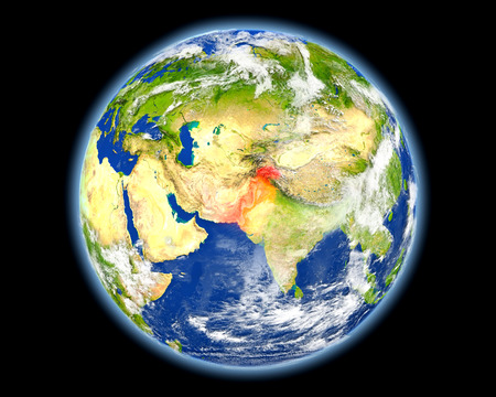 Pakistan on planet Earth. 3D illustration with detailed planet surface. Elements of this image furnished by NASA. Stock Photo