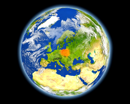 detailed image: Poland on planet Earth. 3D illustration with detailed planet surface. Elements of this image furnished by NASA. Stock Photo