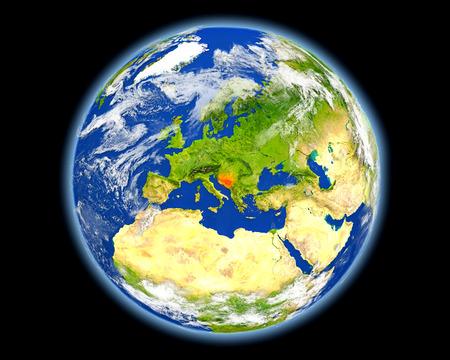 Bosnië op de planeet aarde. 3D illustratie met gedetailleerd planeetoppervlak. Stockfoto