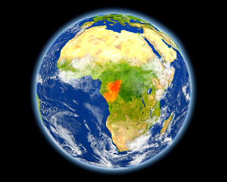 Congo on planet Earth. 3D illustration with detailed planet surface. Elements of this image furnished by .
